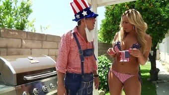 Blonde in patriotic bikini Olivia Austin hooks up with one kinky dude