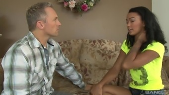 Ebony babe Harley Dean enjoys good interracial sex