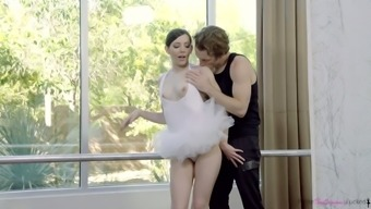 Graceful babe Ember Stone is making love with her dance partner