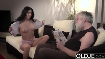 Old Young Porn Attractive Teen Fucked by old mankind located on the divan