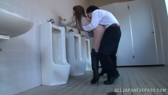 Japanese people milf blows and gets fucked within the general public bathroom