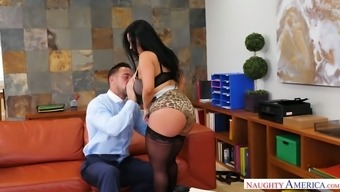 Big breasted golden desk Sheridan Completely love gives quite a top notch BJ