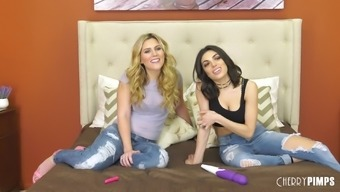 Darcie Dolce and Sasha Mind fidgeting with such a superior sex toys