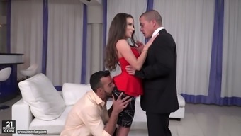 Adult man eating Hungarian nasty person Anita Bellini is fucked by two peers on the job