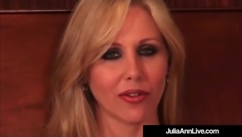 Busty Blond Milf Julia Ann Puffs On Cigarette smoking Bare On your bed!