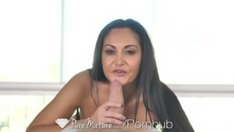 PureMature Oiled up massage session fuck by using great breasted MILF Magumas Addams