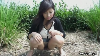 Suggestive buxom Japanese hottie Karin Asahi gonna get her pussy teased outdoor