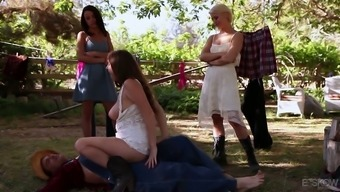 Perverted cougar Darla Crane and certain more busty females go wilderness upon the farm
