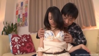 Brunette Nanase Mai makes a attractive man sperm on the reasonably have to face