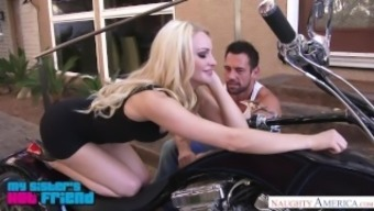 Large genuine blond Staci Carr gives a bike blowjob - Wayward North america