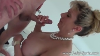 Major boobed milf Woman Sonia supplying handjob and blowjob to your wierder