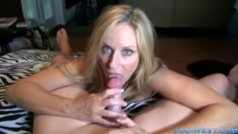 Jodi East in StepMother's Welcome Home or office HandJob