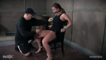 Hogtied docile whore Maddy Oreilly gets her nipples attached challenging