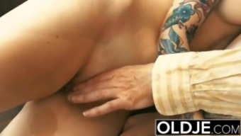 Young and old Youngster Blonde Fucked by Old adult man tight pussy manhood licking