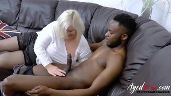 Wild beautiful brown mature taking pleasure in interracial intense love-making and blowjob