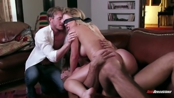 curvy blond babe with naturally-occuring titties gets blindfolded then drilled hardcore
