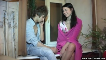 Horny teen's nailed as her cuckold guy designer watches
