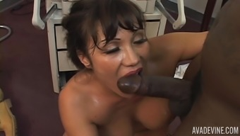 Brunette milf Ava Devine gets bent over and fucked in the twat