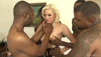 Blonde MILF in stockings Jenna Ivory gang banged by big black cocks