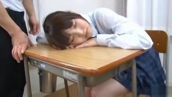 Horny Schoolgirl Megumi Shino Gives A POV Blowjob In Class