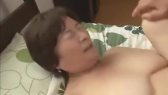 Japanese Granny fucks her 2 not step sons