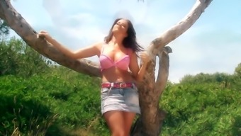 Striptease beachside by incredible Cindy naked in nature outdoor undressing
