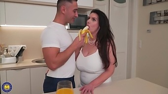 Mature busty mom tries sons banana