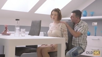 OLD4K. Senior father helps big tits youngster to unwind having passionat