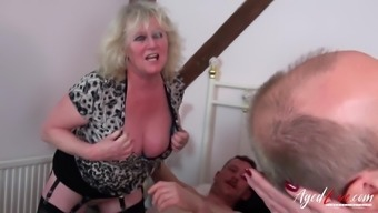 Two mature pornstars Claire Knight and Auntie Trisha are enjoying real hardcore group sex
