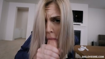 Kinky stepbrother enjoys fucking face and mouth of naughty stepsister Allie Nicole