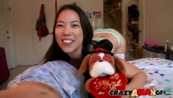 long haired Asian teen brunette babe Kalina Ryu rides a cock