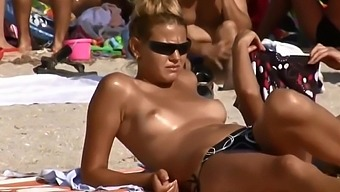 Topless in beach compilation