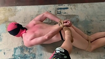 Mistress feeds cum filled condom to sub after edging, orgasm denial