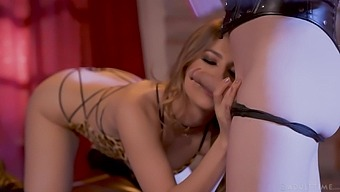 Kristen waits for her transsexual mistress like a good slave should