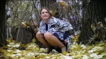 Russian bride to be pissing in woods! Amateur!