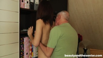 Slight brunette girlie with charming titties lures old mankind in order to get twat mocked