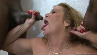 Interracial gangbang of a stout age blond tramp