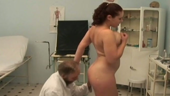 Busty Russian tramp fucks attractive old medical professional in his business office