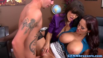 Big tits Lisa Ann and her milf pal have a threesome