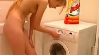 Deep Stunning Brown Kira Assists in The Laundry