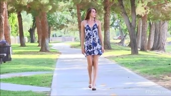 Stifling Thena Flashes Her Natural splendor Outdoor In government departments