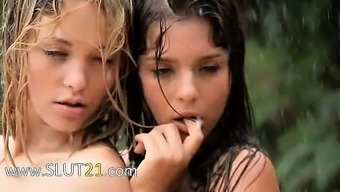 Beautiful babysitters in the rainfall