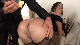 A hot maid gets her butt oiled out and defeated by her boss