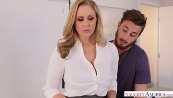 Flavorful busty milf Julia Ann is fucked right on the table by Johhny Stack