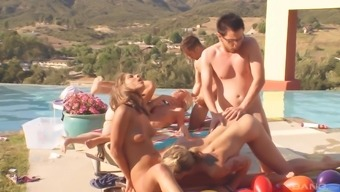 Beautiful females get talked into fucking by using twisted fellas outdoors